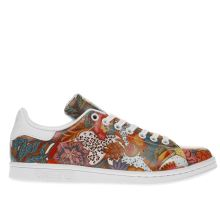 Adidas White & Red Stan Smith Floral Trainers