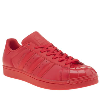 Adidas Red Superstar Glossy Toe Trainers