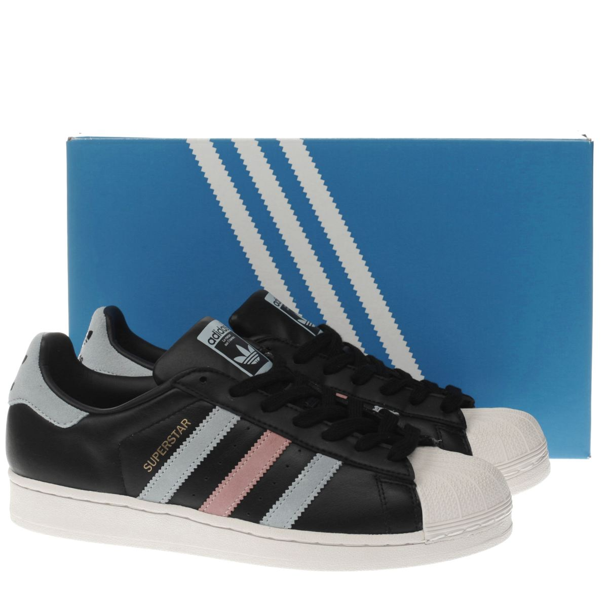 adidas superstar black blue