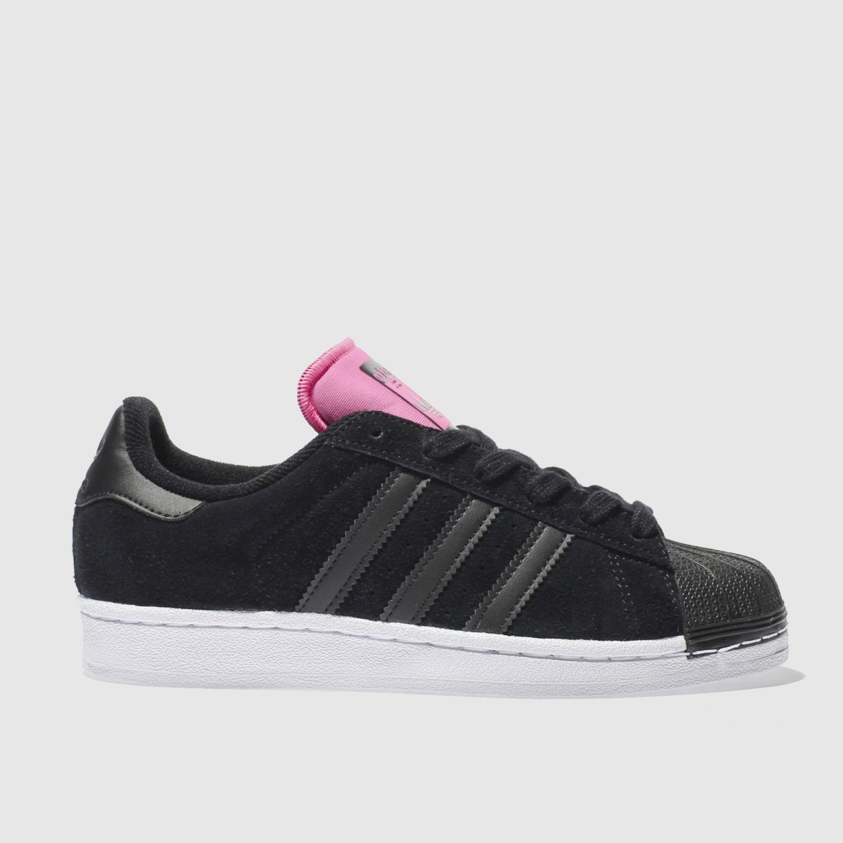 adidas black & pink superstar trainers