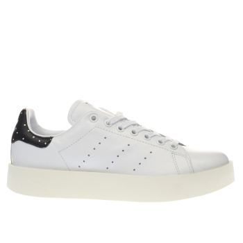 Adidas White & Black Stan Smith Bold Trainers