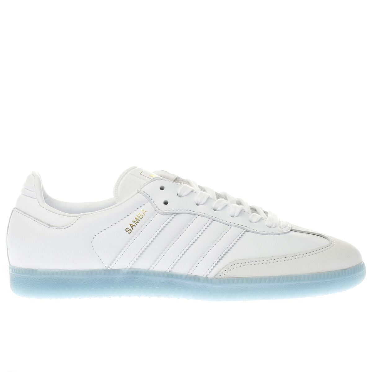 adidas white & pl blue samba trainers