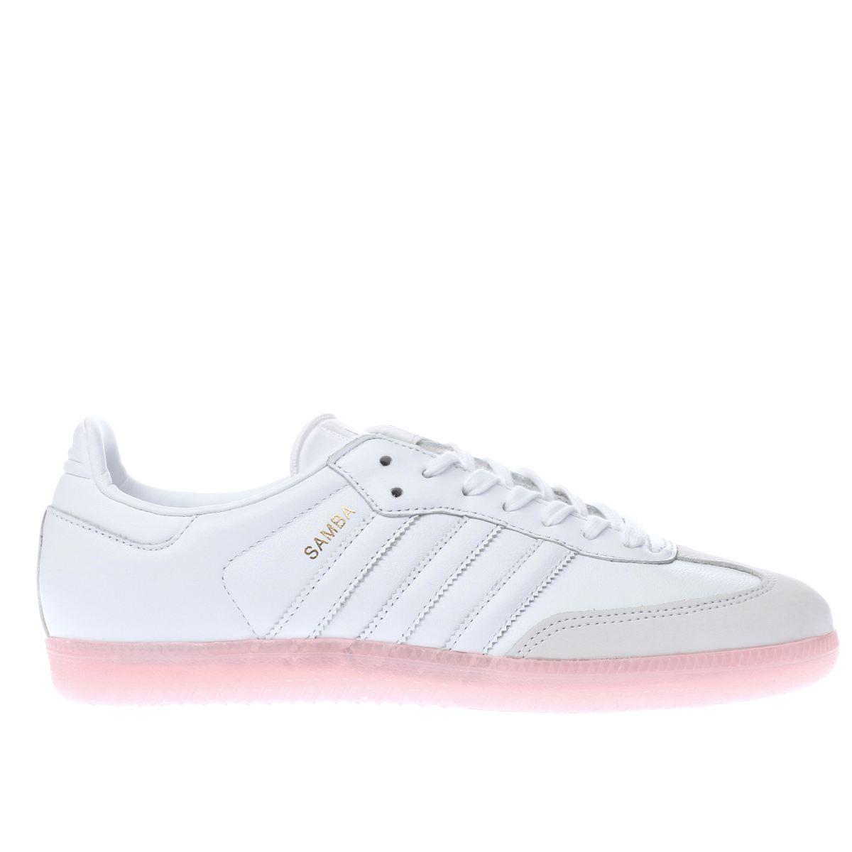 adidas white & pink samba trainers