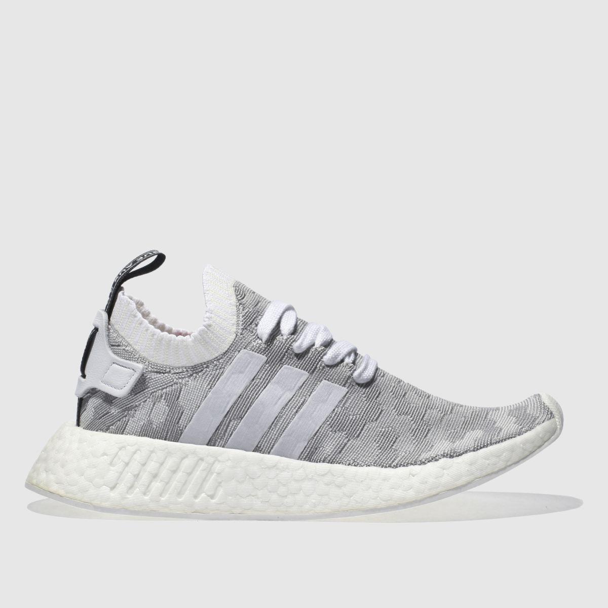 adidas light grey nmd_r2 primeknit trainers