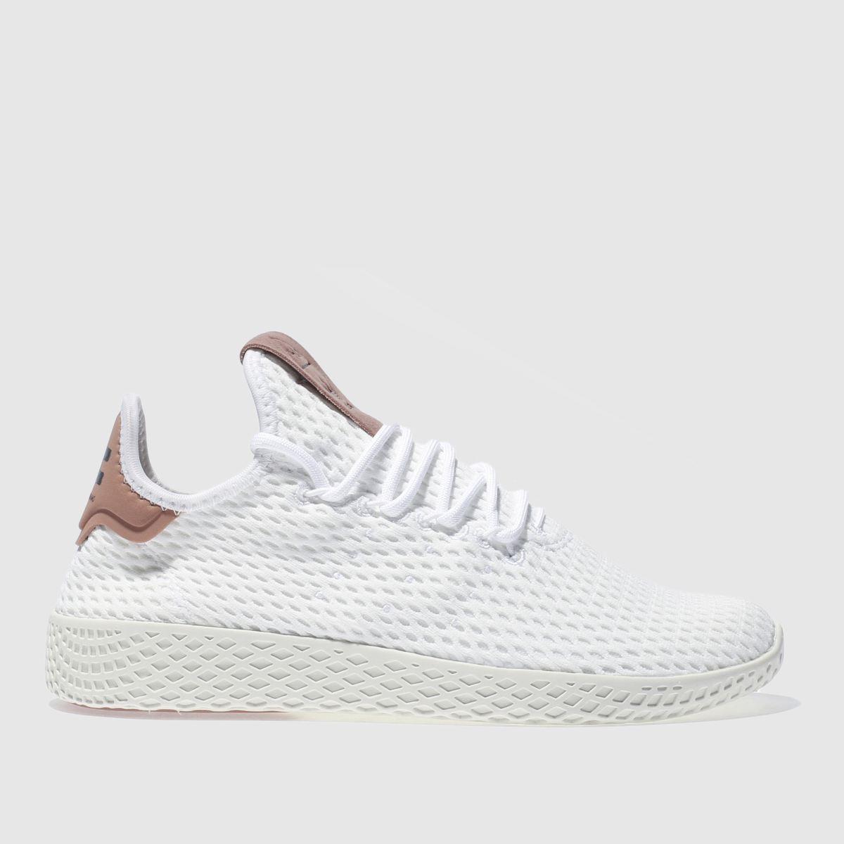 adidas white & pink pharrell williams tennis hu trainers
