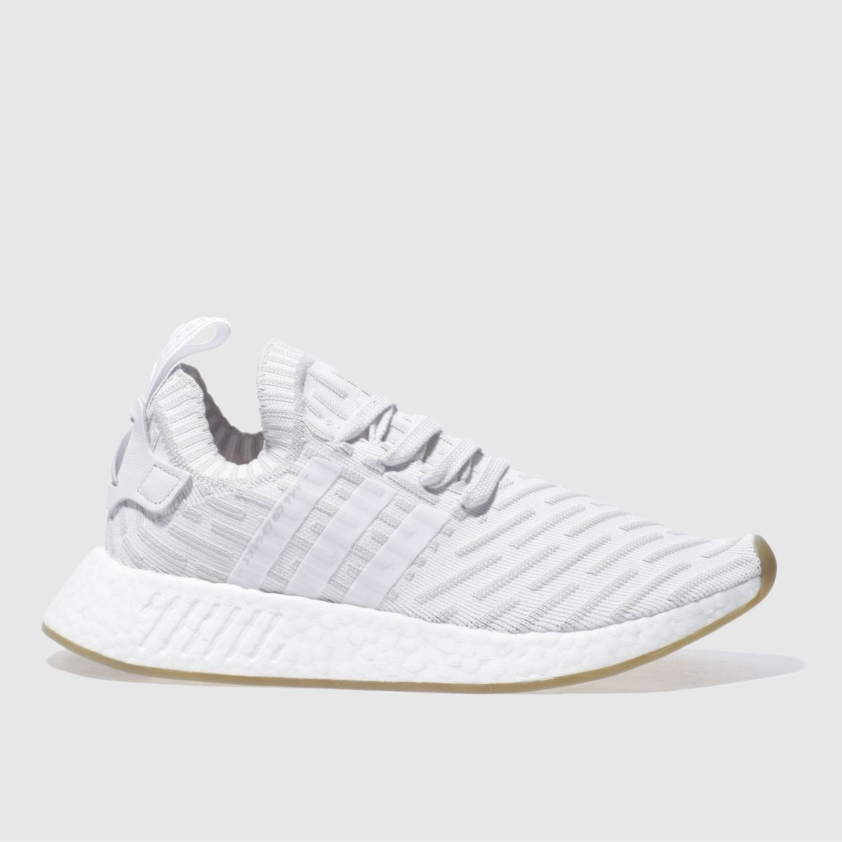 adidas white & grey nmd_r2 primeknit trainers