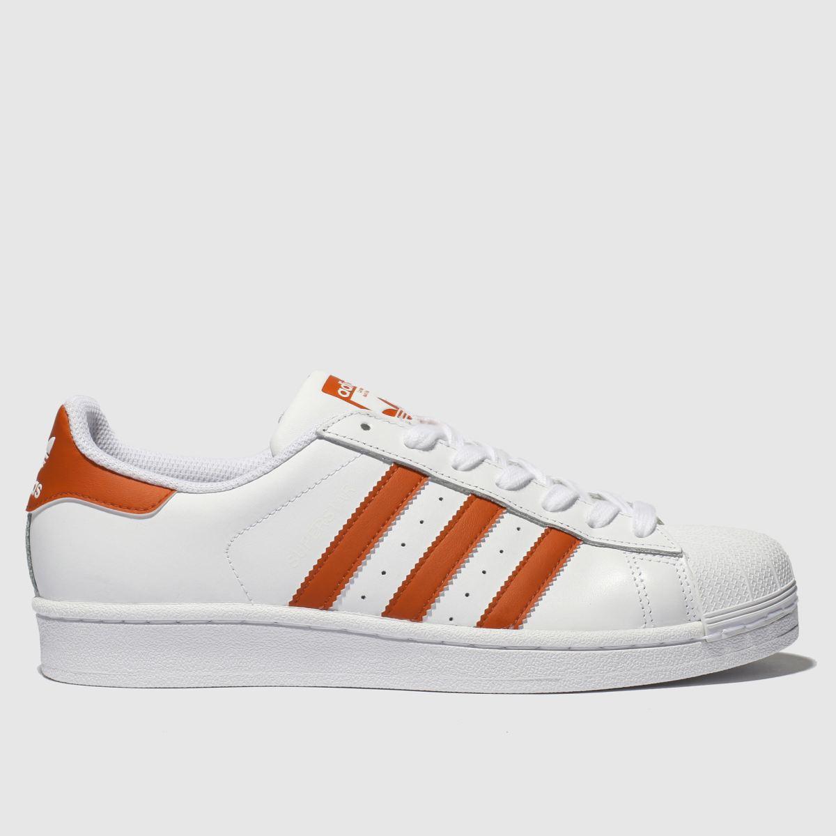 Adidas White & Orange Superstar Trainers