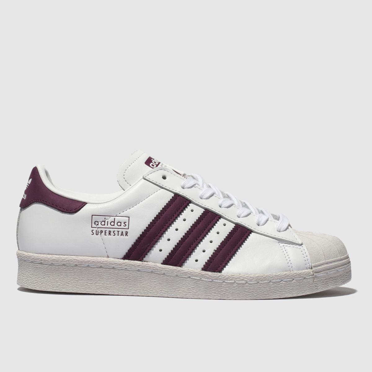 Adidas White & Burgundy Superstar Trainers