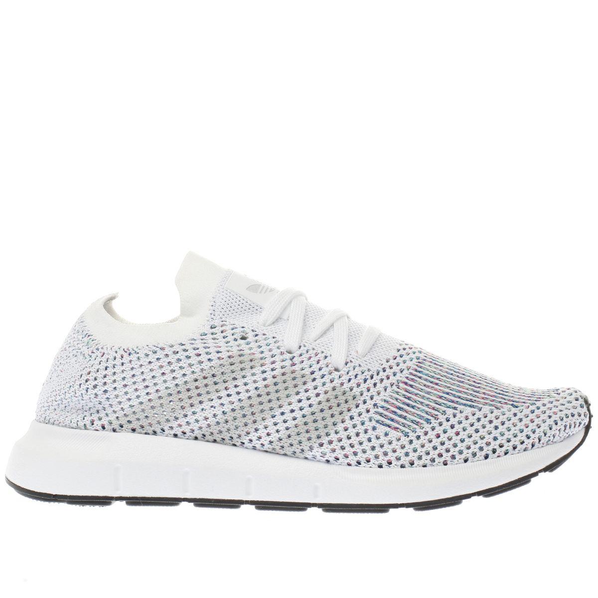 adidas white & pink swift run primeknit trainers
