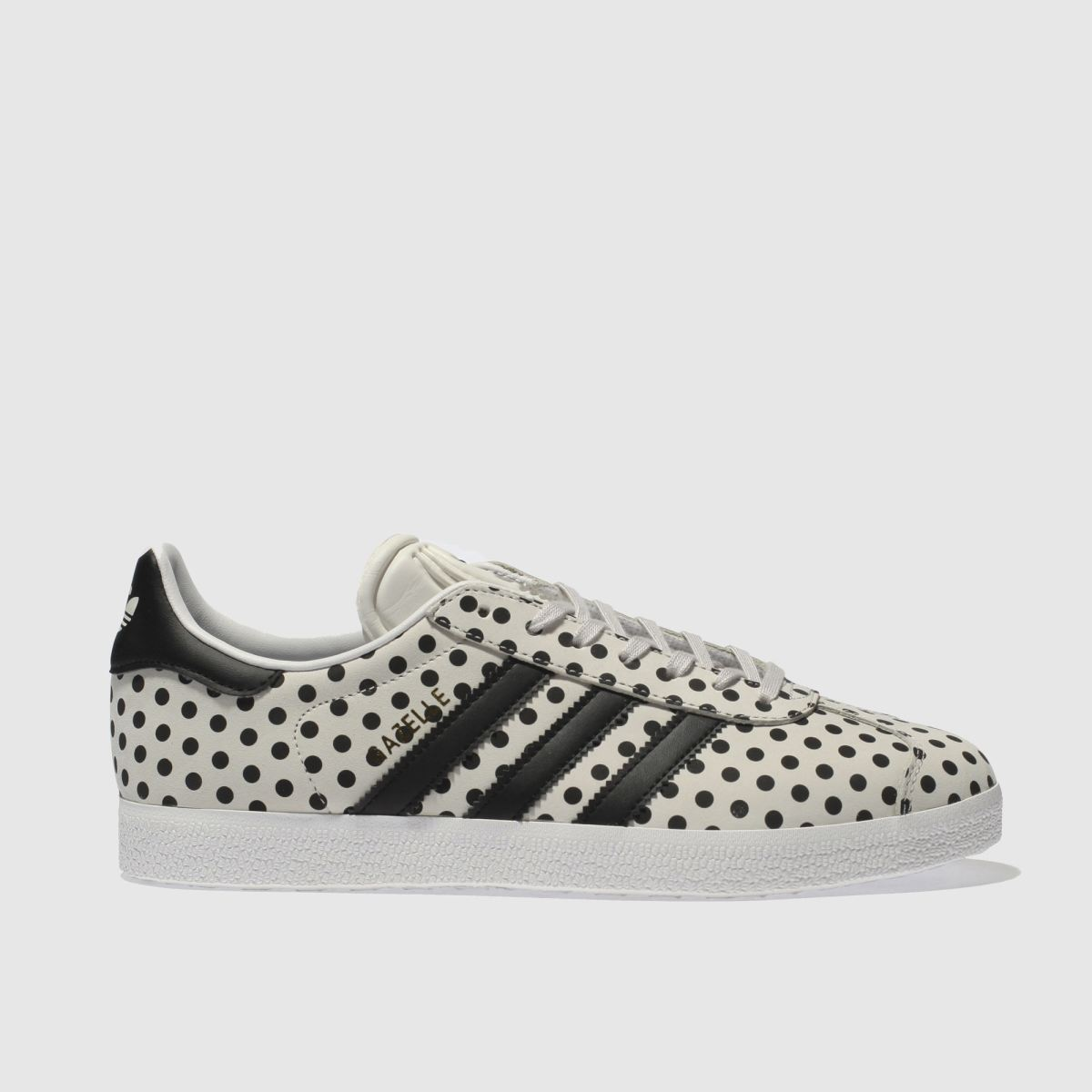 Adidas Light Grey & Black Gazelle Leather Polka Dots Trainers