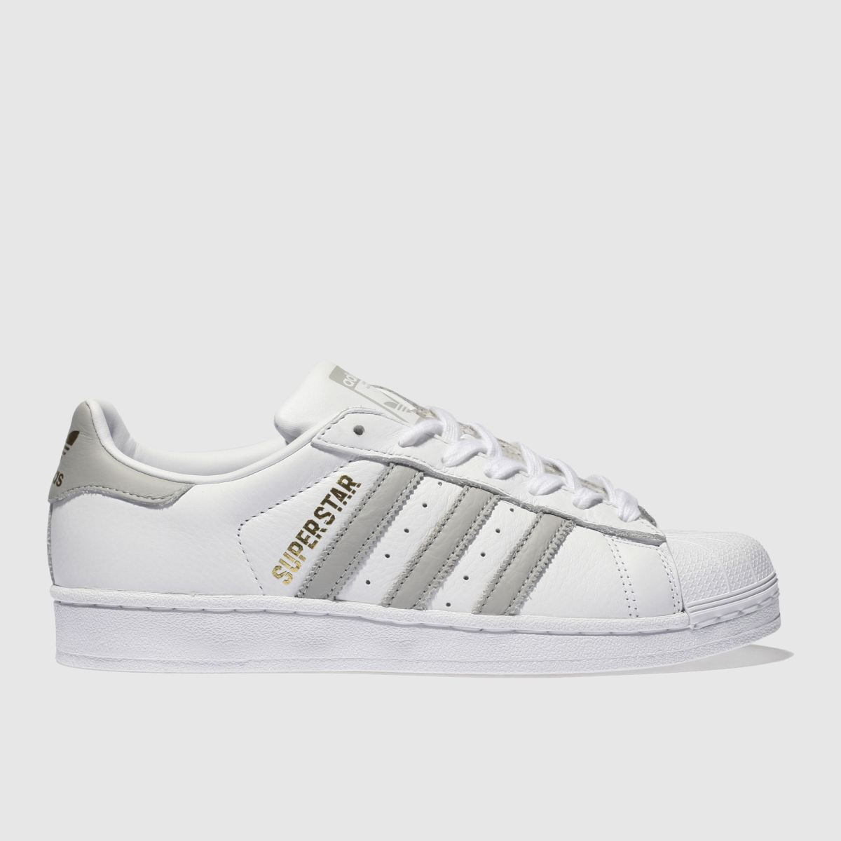 Adidas White & Grey Superstar Trainers