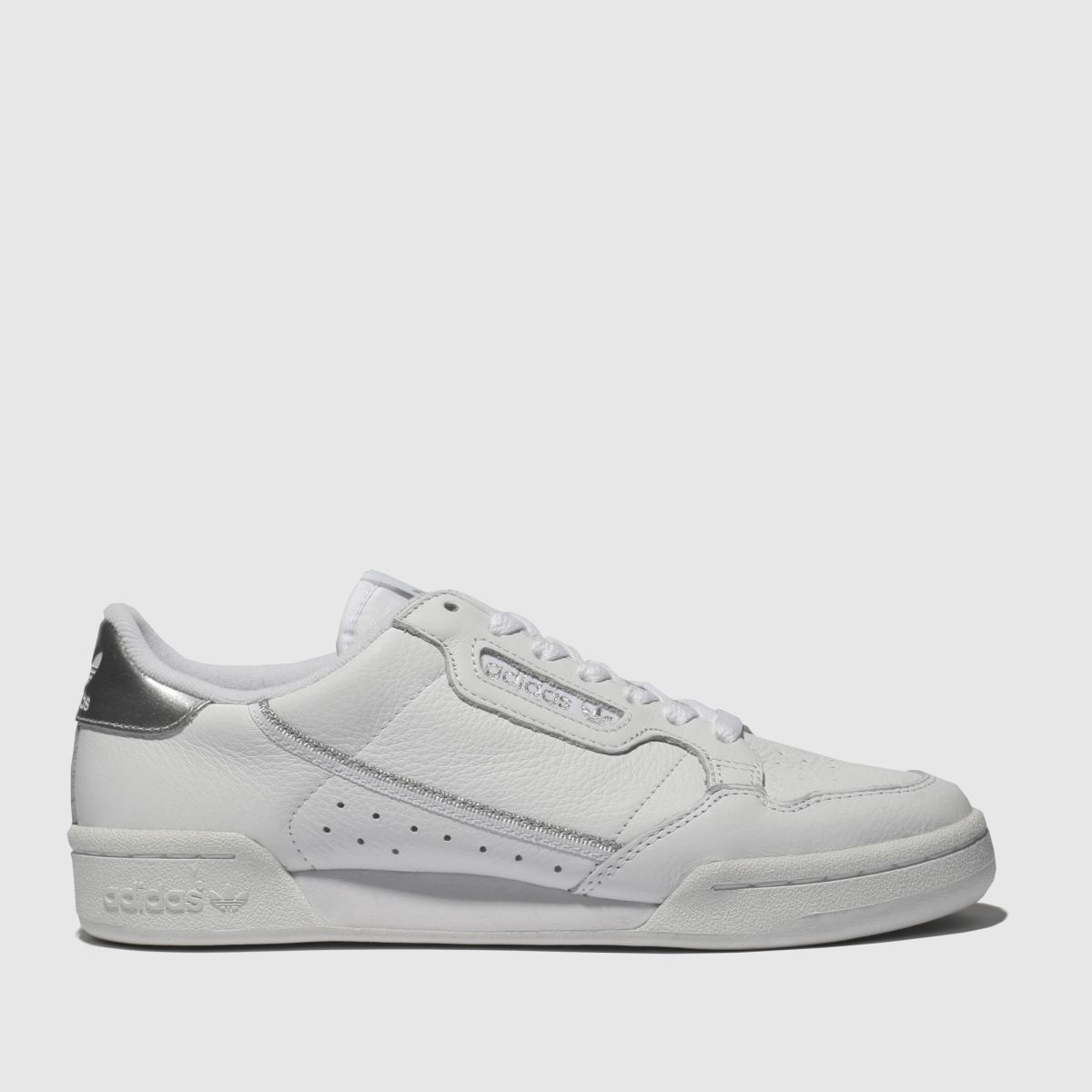 Adidas White & Silver Continental 80 Trainers
