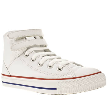 womens converse white & red as 2 strap hi trainers