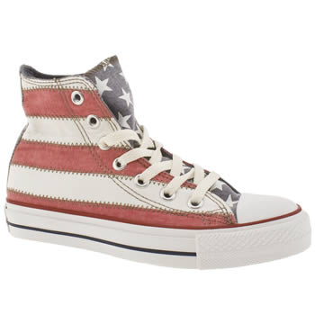 womens converse white & red all star specialty flag trainers