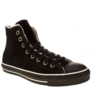 womens converse black all star shearling hi trainers