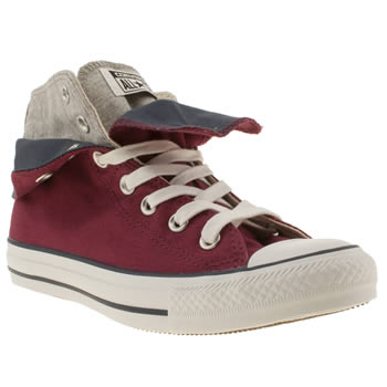 womens converse burgundy all star two fold hi ii trainers