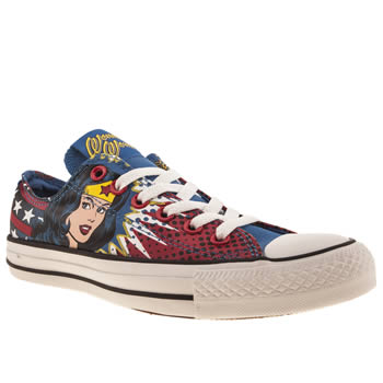 womens converse blue & yellow all star ox iii wonder woman trainers