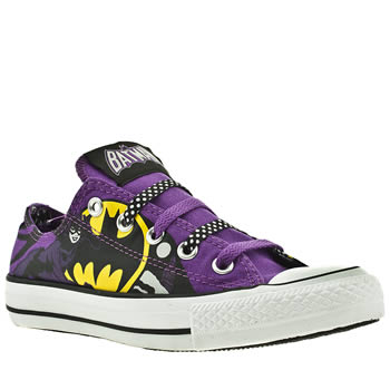 womens converse black & purple all star ox iii catwoman dc trainers
