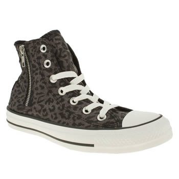 womens converse black & silver allstar side zip leopard hi trainers