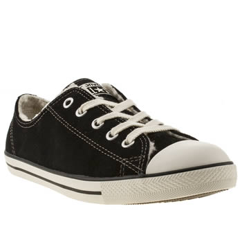 womens converse black & white all star dainty shearling ox trainers