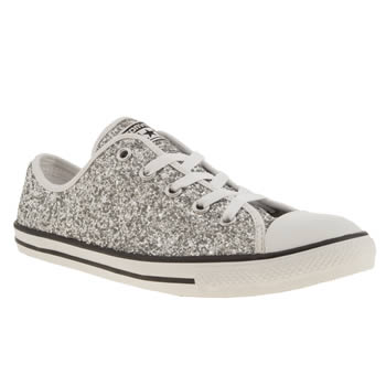 womens converse silver all star dainty glitter ox trainers