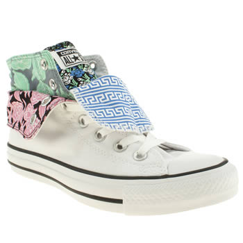 Converse White & Black Two Fold Hi Iii Floral Trainers