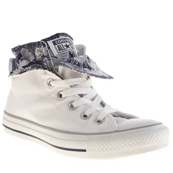 Converse White & Navy All Star Two Fold Hi Flower Trainers