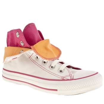 womens converse white & pink as two fold hi iii trainers