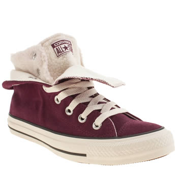 Womens Converse Burgundy All Star Two Fold Hi Shearling Trainers