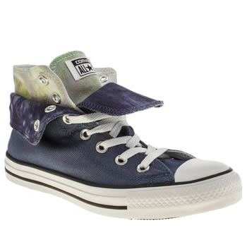 Converse Navy & White All Star Two Fold Hi Tie Dye Trainers
