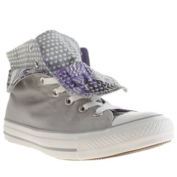 Womens Converse Light Grey All Star Two Fold Hi Hearts Trainers