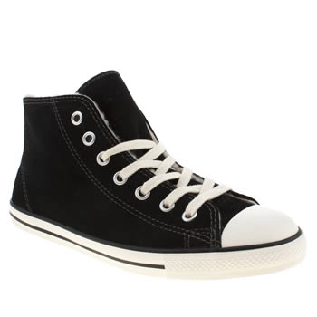 womens converse black & white all star dainty mid shearling trainers