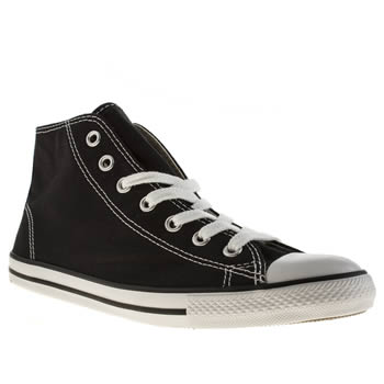 womens converse black & white all star dainty mid canvas trainers