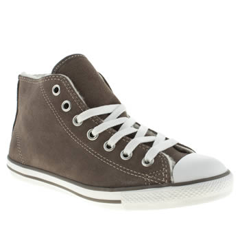 womens converse grey all star dainty mid shearling trainers