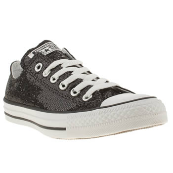 womens converse black all star ox v glitter trainers