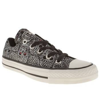 womens converse black & white all star ox v skull print trainers