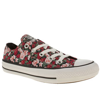 womens converse black & red all star floral ox v trainers