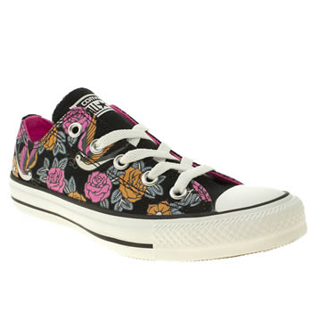 womens converse black & orange all star ox v tattoo print trainers