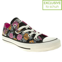 Black & Orange Converse All Star Ox V Tattoo Print