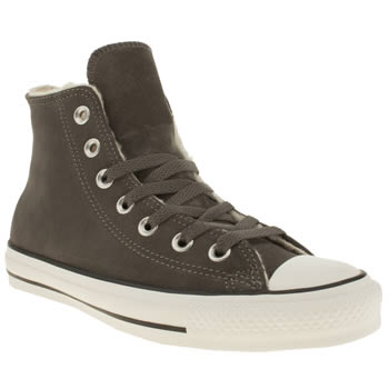 Womens Converse Dark Grey All Star Hi V Shearling Trainers