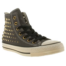 Black & Gold Converse All Star Collar Studs Hi