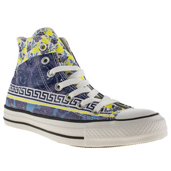 womens converse white & blue all star floral mix print hi trainers