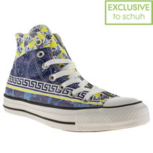 White & Blue Converse All Star Floral Mix Print Hi