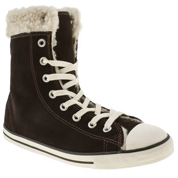 Converse Brown All Star Dainty Shearling Hi Trainers