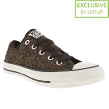 Brown & White Converse All Star Ox Vi Glitter