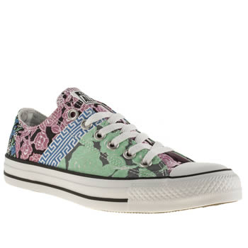 womens converse white & black all star ox floral mix print trainers
