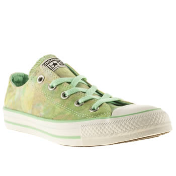 womens converse white & green all star ox tie-dye trainers
