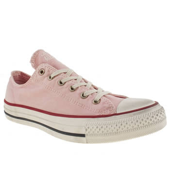 womens converse pale pink all star well worn trainers