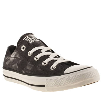 womens converse black & white ox vi tie-dye trainers