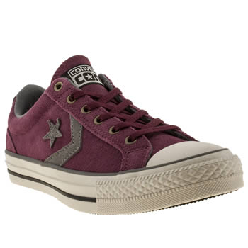 womens converse burgundy star player ox ev suede trainers